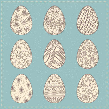 Set of decorative patterned Easter eggs on turquoise background