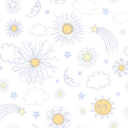 sonne mond: Nahtlose Muster mit Doodle Sonne, Mond, Sterne, Wolken und Kometen in Pastellfarben auf wei�em Hintergrund