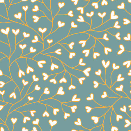 Seamless background with white hearts on turquoise backdrop Illustration