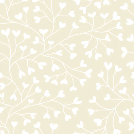 treelike: Monochrome seamless pattern with hearts in pastel colors