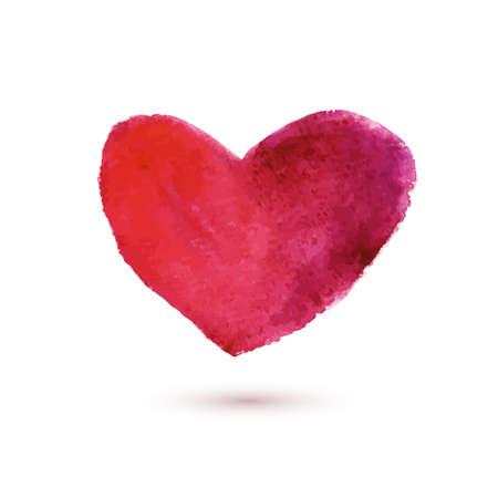 Fondo con el coraz�n rojo de la acuarela. Ilustraci�n vectorial