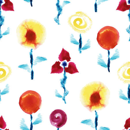 Seamless pattern from vector watercolor flowers on white background