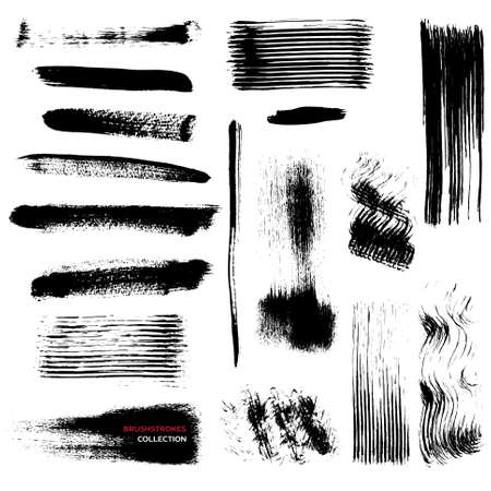 Set of black grunge vector brush strokes on white background  Illustration