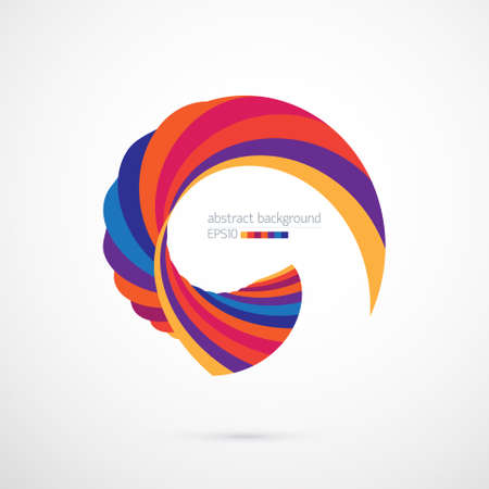 Abstract background with bright multicolored curved shape on white Illustration