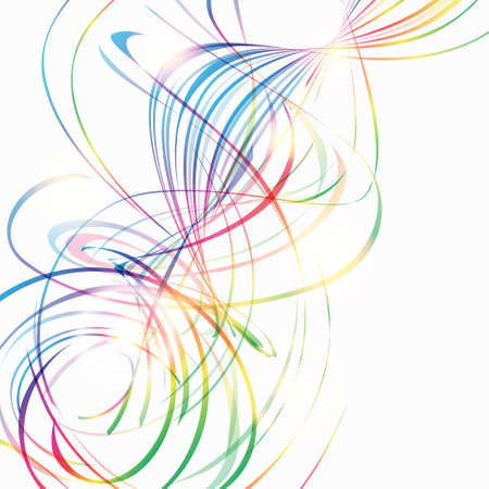 Abstract background with rainbow curved lines on white  Ilustrace