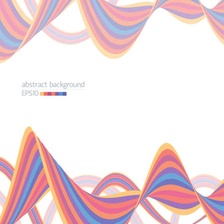 Abstract background with striped multicolored ribbons on white Illustration