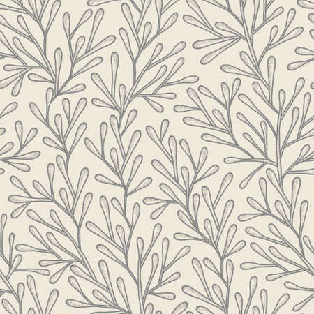 treelike: Monochrome seamless pattern in pastel colors