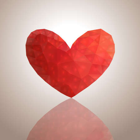 Decorative red heart from triangles on a light background with reflection Illustration