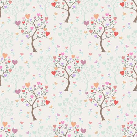 Fondo transparente encantadora con �rboles y flores de corazones multicolores