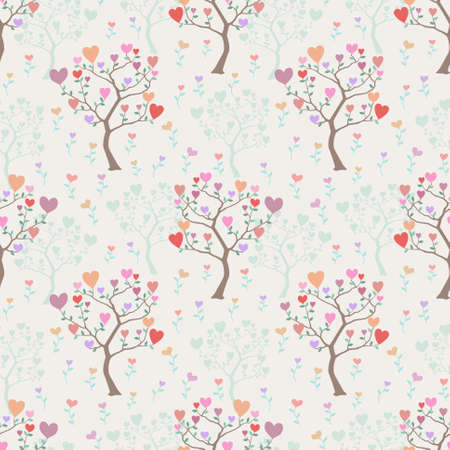 Lovely seamless background with trees and flowers from multicolored hearts