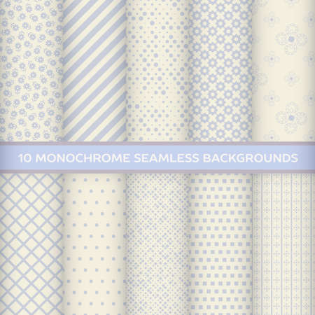 Set of monochrome seamless backgrounds in polka dot, striped, diagonal, square, rhombus, checkered, star, floral with pastel colors Vector