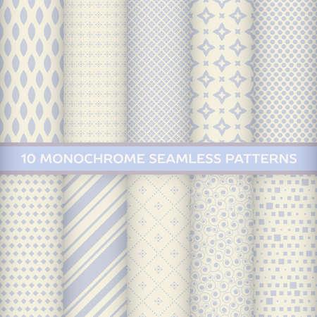discreto: Conjunto de patrones sin fisuras monocromas en rombo, rayas, diagonal, cuadrado, estrella, espiral con colores pastel Vectores