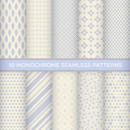 discreet: Set of monochrome seamless patterns in rhombus, striped, diagonal, square, star, spiral with pastel colors Illustration