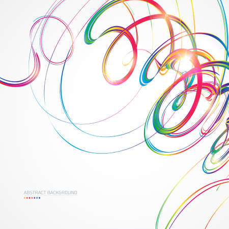 Abstract background with multicolored curved lines on white