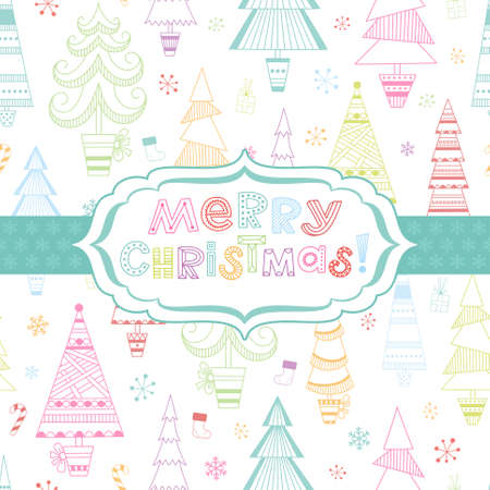 Abstract Christmas background with multicolored fir trees, snowflakes and frame Vector