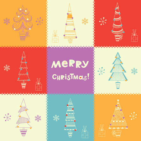 Bright multicolored Christmas background with fir trees, snowflakes and gifts Illustration