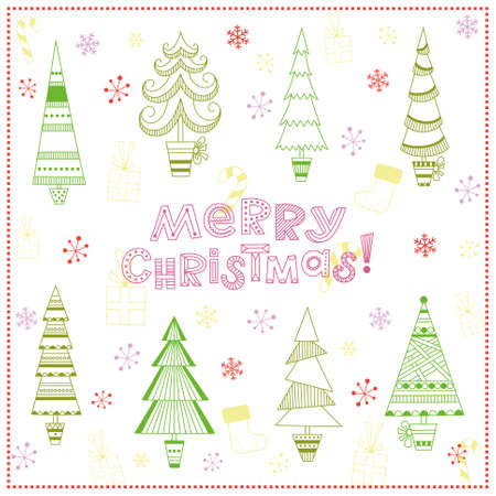 Christmas background with fir trees, snowflakes, lollipops, gifts and Christmas stocking Vector