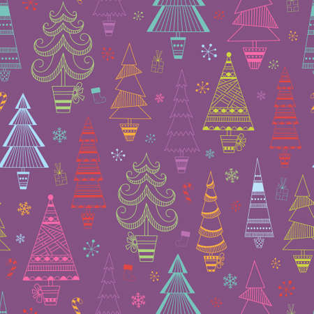 Christmas seamless background with multicolored fir trees and snowflakes for your design Vector