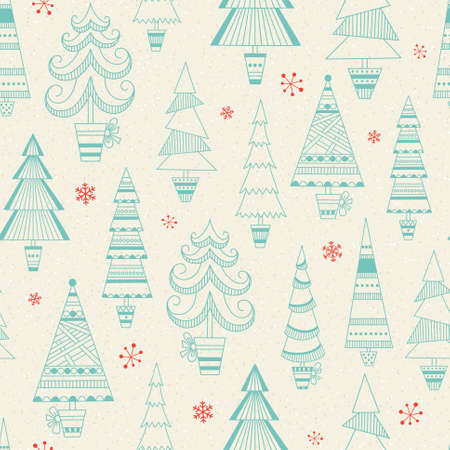 Christmas seamless pattern with fir trees and snowflakes on beige background Vector