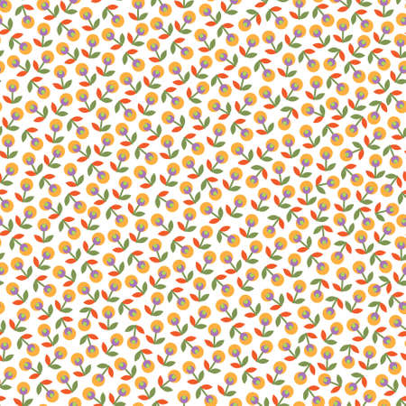 Colorful seamless pattern with flowers on white background
