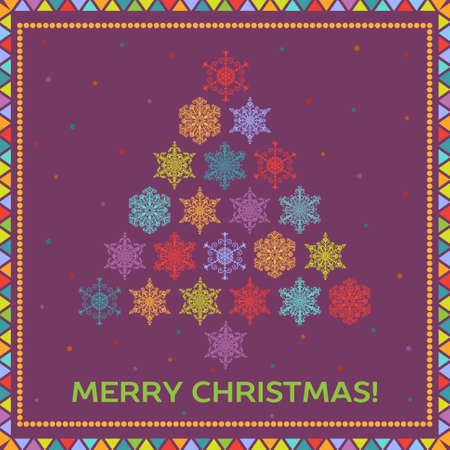 Bright Christmas background with fir tree from multicolored snowflakes