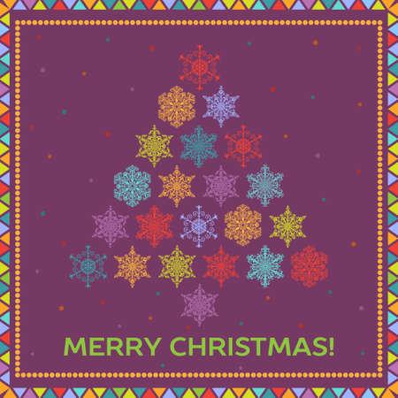 Fondo brillante de la Navidad con el �rbol de abeto de copos de nieve multicolores
