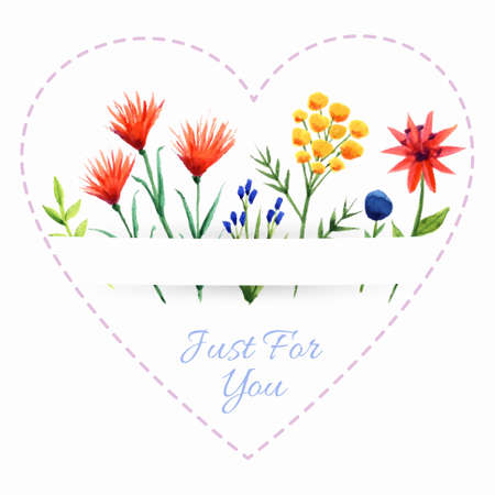 Background with bright flowers and heart shape frame. Can be used as valentine card, greeting card or invitation Vector