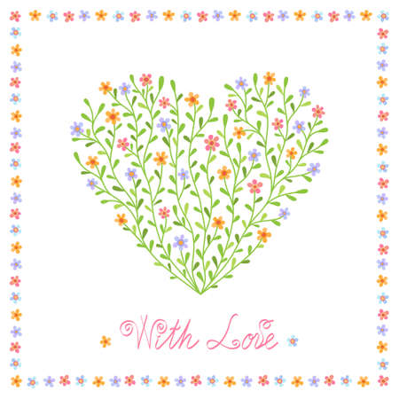 Romantic background with decorative heart from multicolored flowers Illustration