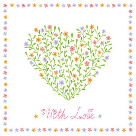 Sfondo romantico con il cuore decorativo da fiori multicolori