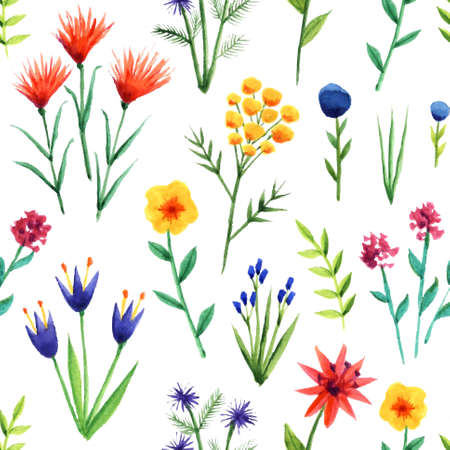 Seamless background from vector watercolor flowers on white