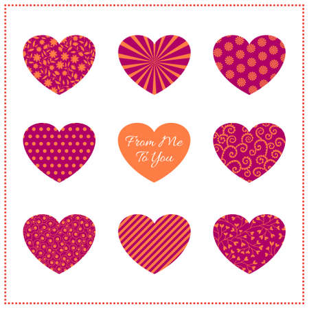 Background with patterned hearts in vibrant colors on white. Can be used as valentine card, greeting card or invitation