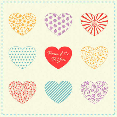 Romantic background with patterned multicolored hearts on white. Can be used as valentine card, greeting card or invitation