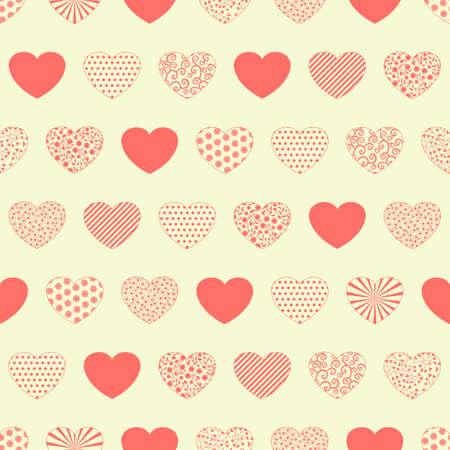 Seamless pattern con cuori rossi decorativi su sfondo bianco