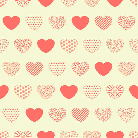 Seamless pattern with decorative red hearts on white background