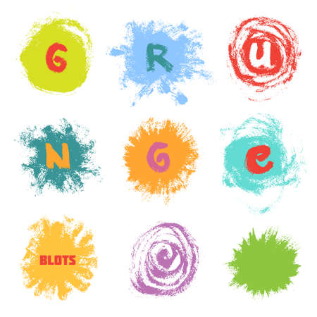 Set of bright multicolored paint blots and letters on white background Illustration
