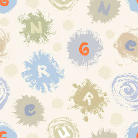 Abstract seamless pattern from different paint blots and letters in soft colors