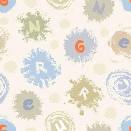 Astratto modello senza saldatura da diverse macchie di vernice e le lettere in colori tenui