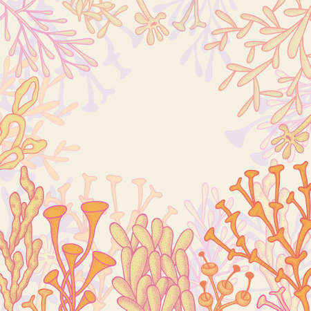 branching coral: Abstract background with different corals and place for your text