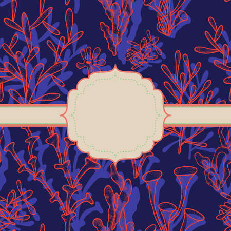 Bright abstract background with corals on dark blue and frame for your text Illustration