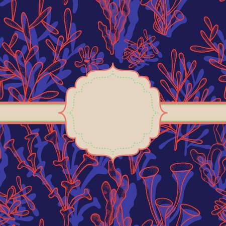 Fondo abstracto brillante con los corales en azul oscuro y marco para el texto