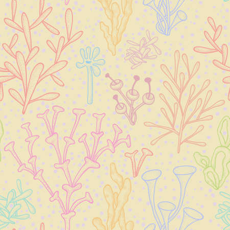 Abstract seamless background with multicolored corals on beige