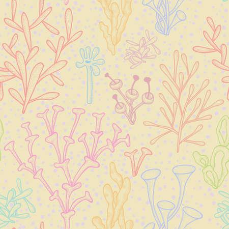 Sfondo senza soluzione di continuit� con i coralli multicolori su beige