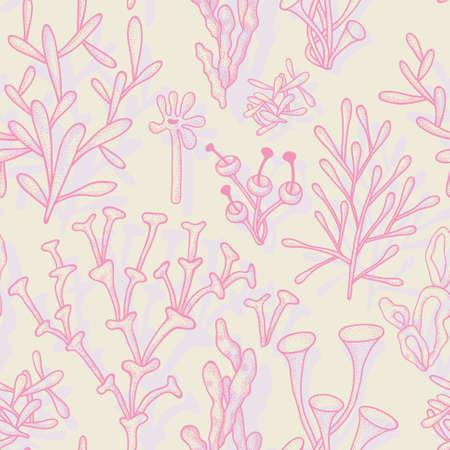 Seamless pattern con astratti coralli differenti in colori pastello Vettoriali