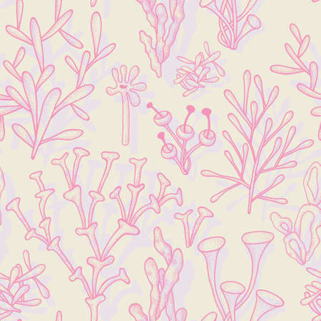 branching coral: Seamless pattern with abstract different corals in pastel colors