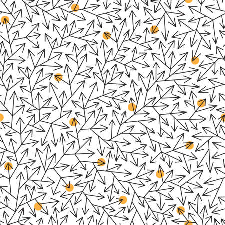Abstract seamless pattern with branching black arrows and small orange circles on white background