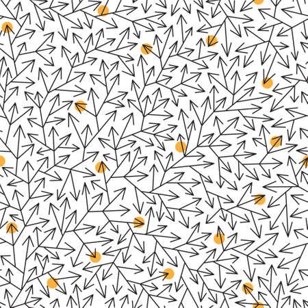 Astratto seamless con ramificazione frecce nere e piccoli cerchi arancio su sfondo bianco