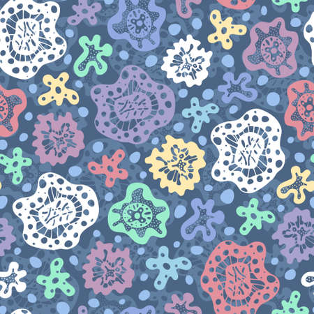 unicellular: Seamless background with multicolored abstract shapes and blue circles