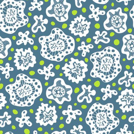 unicellular: Seamless pattern con il bianco forme astratte e cerchi verdi su sfondo blu