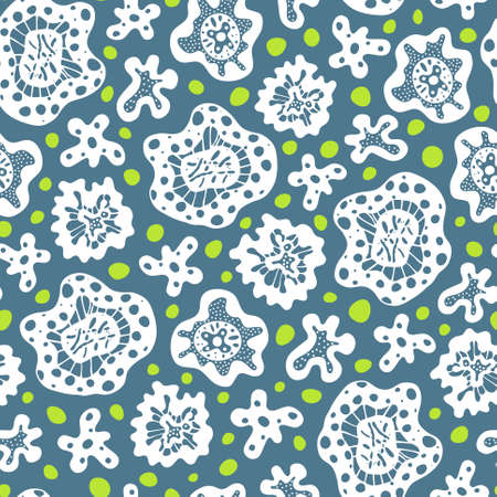 unicellular: Seamless pattern with white abstract shapes and green circles on blue background
