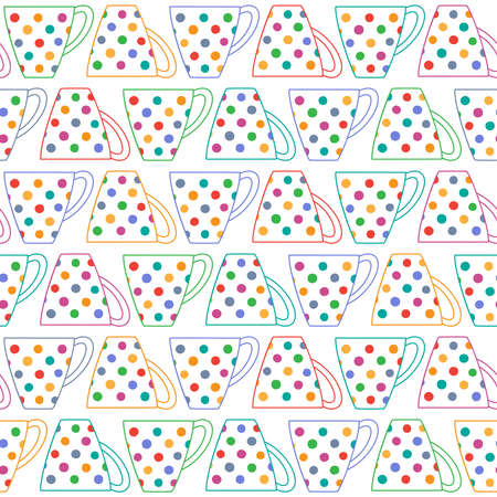 Seamless background with tea cups in colorful multicolored polka dot on white